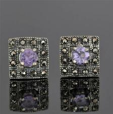 STERLING SILVER AMETHYST MARCASITE EARRINGS