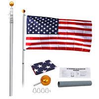 20Ft Aluminum Telescopic Flagpole Kit Telescoping W/ 3x5' U.S American Flag Kit
