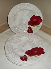"DEHLIA by Laurie Gates Set of 4 Luncheon Salad Plates 9.5""~ Hard-to-Find Pattern"