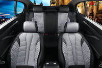 Car Seat Covers Full Set Grey Black Premium Fabric & Leatherette For Toyota