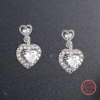 Fashion Cute 925 Silver Ear Stud CZ Earrings Dangle Girls Women Genuine Jewelry