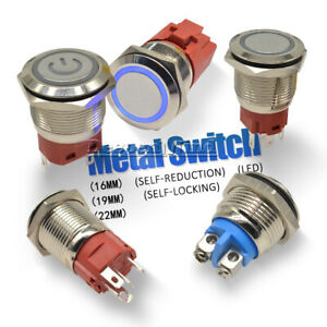 16mm/19mm/22mm 250V 5A Flat Round/Spherical Momentary Metal Push Button Switch