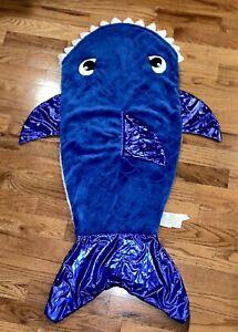 Kids Shark Blanket Tail Cozy Snuggle Throw Boy Girl EUC Sleeping Bag