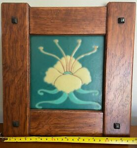 Arts and Crafts/Craftsman oak framed original Van Briggle Tile