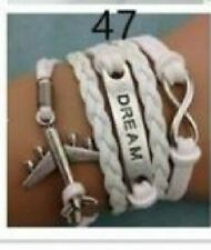 White Leather Dream Bracelet with Plane Charm 6.25 inches - New