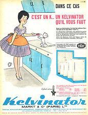 PUBLICITE ADVERTISING 025  1961  KELVINATOR réfrigérateur JEAN BELLUS le chat
