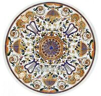 84 Inches White Marble Dining Table Top Round Living Room Table with Mosaic Art