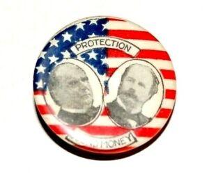 1896 WILLIAM MCKINLEY GARRET HOBART LAPEL STUD campaign pinback button political