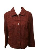 J.Jill Burgundy Tweed Wool Blend Snap Front Waist Jacket Pockets Size Large...