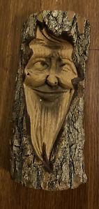Hand Carved Wood Folk Art Spirit Old Man Face Tree Sculpture Initialed  D.M.