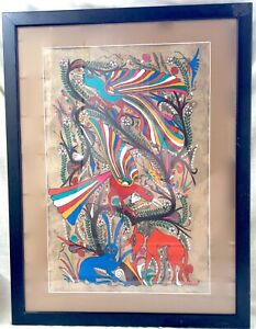 Vintage Framed Mid-Century Neon Bark Painting/Amate - Mexico