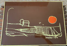 Mid Century Modern Gold Stitching Landscape Wall Art 70s Signed Dated Doug Wiko?