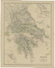 Antique Map of Greece by Johnston (1882)