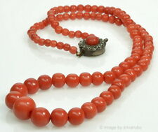 ANTIQUE VICTORIAN UNDYED ORANGE CORAL BEAD NECKLACE STERLING CLASP