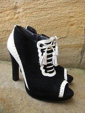 PEEPTOE Brand Brogue Black & White Leather Stiletto Platform Pumps Heels 8 / 39