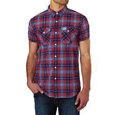 SUPERDRY Slimline Washbasket SS Shirt Navy Check Blue Red Size 2XL (XXL) BNWT