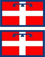 2x Adhesivo adesivi pegatina sticker vinilo bandera vinyl italia piamonte