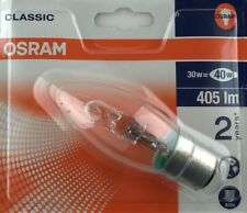 10x Osram 30W = 40W Clear BC B22 Halogen Candle bulb lamp dimmable in A3