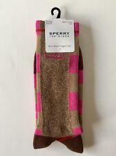 Sperry Lefty Righty Checked Crew Sock, Rain Drum/Red Dahlia, (Shoe 6-12)