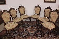 6 sedie in legno con stoffa anni 50/60