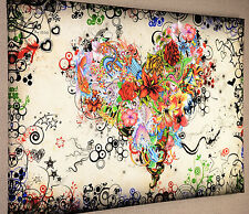 """ABSTRACT -STUNNING COLOURFUL LOVE HEART WALL ART CANVAS PICTURE 20 x 30"""""""