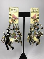 Rare Vintage 1989 Lunch at the Ritz Earrings Magic/Magician Theme