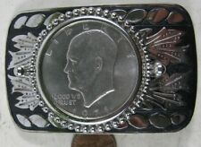 Silvertone Belt Buckle Vintage 1971 Eisenhower Dollar