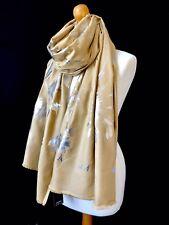 Amarillo Mostaza Visera Estampado Abstracto Foil Bufanda Envolvente Peso Medio