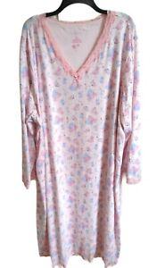 Serenada Women's 4X Nightgown pink w/ cat print lace v neck-#F33