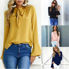 Woman Casual Chiffon Loose Blouse Tie-bow-wrap neck Top bell sleeve  S-2XL G7061