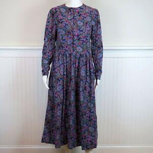 100/% cotton Ballet length. UK Size 12 1990s Vintage Laura Ashley dress Black with red floral design