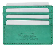 Green Leather THIN Compact Flat Men Wallet Front Pocket Case 6 Credit Card ID