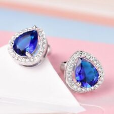 18k White Gold Sapphire Blue and White crystal Stud Earrings 352