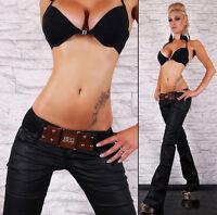Women's hipster jeans black wet look bootcut jeans Ladies Pants Inc Belt Si 6-14