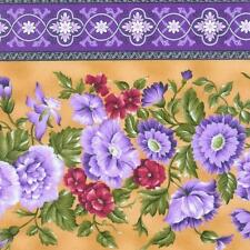 Giselle Purple Lavender Violet Mauve Gold Floral Rose Border Stripe Fabric