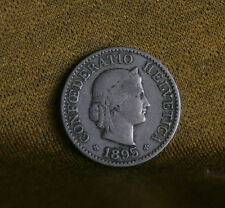 5 Rappen 1895 B Switzerland Copper Nickel World Coin Liberty KM26
