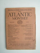 August, 1920 The Atlantic Monthly literary magazine with great old ads - cars