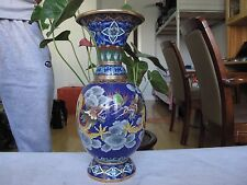 China Royal Palace Copper cloisonne enamel Two Dragon Play Bead Pot Vase