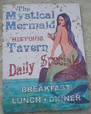 Large 2 Foot Mystical Mermaid Tavern Rustic Canvas Beach Bar Sign Home Decor New