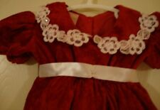 CHRISTMAS~girl's~RED/VELVET/w/WHITE/ALENCON/LACE/lined/DRESS! (NB) REALLY/CUTE!
