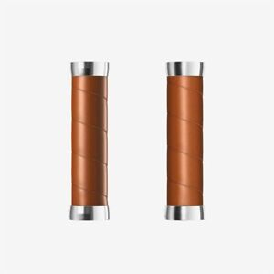 Brooks Slender Leather Bicycle Grips Honey  both sized at 130 mm
