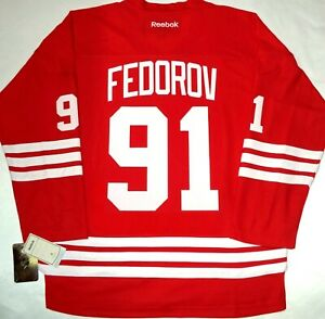 MEN-NWT-L/XL SERGEI FEDOROV DETROIT RED WINGS NHL LICENSED REEBOK HOCKEY JERSEY