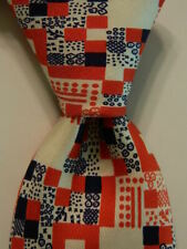 DUNHILL TAILORS Vintage Men's Silk Necktie Designer Geometric Red/White/Blue EUC