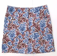 Oilily Stretch Cotton Knee Length Skirt Womans 42 XL Blue Pink Floral A-Line