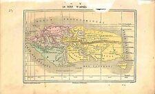 World map Mappemonde Terre Earth Europe Asia Libya GRAVURE ANTIQUE PRINT 1874