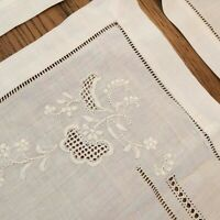 "Set 4 Vintage Linen 12x18"" Placemats & 4 18"" Square Napkins Openwork Embroidered"