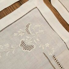"""Set 4 Vintage Linen 12x18"""" Placemats & 4 18"""" Square Napkins Openwork Embroidered"""
