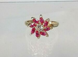 9ct Gold Cluster Ring Stunning Statement Ruby & Diamond Simulants Exquisite