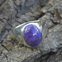 Purple Turquoise Gemstone 925 Sterling Silver Birthstone Handmade Ring Size 8