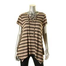 Style & Co. 1816 Womens Brown Asymmetric Striped Lace-Up T-Shirt L BHFO